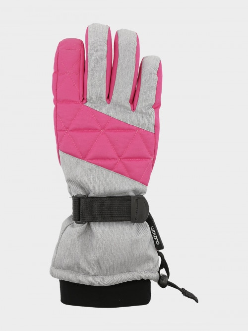 Women's ski gloves RED602  cold light grey melange