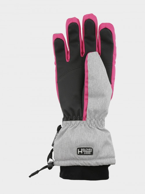 Women's ski gloves RED602 - cold light grey melange