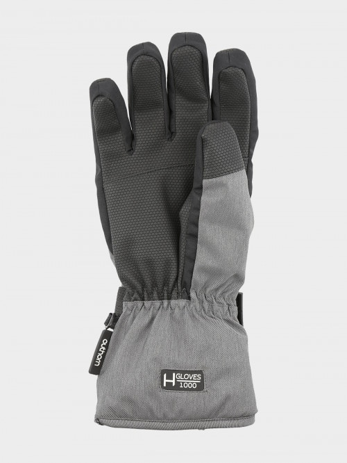 Men's ski gloves REM602 - cold light grey melange